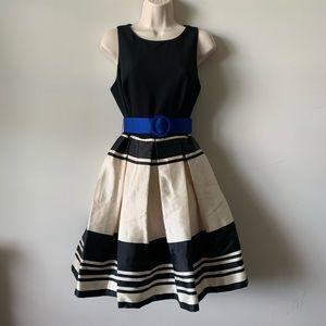 Eliza J black satin pleated fit and flare dress
